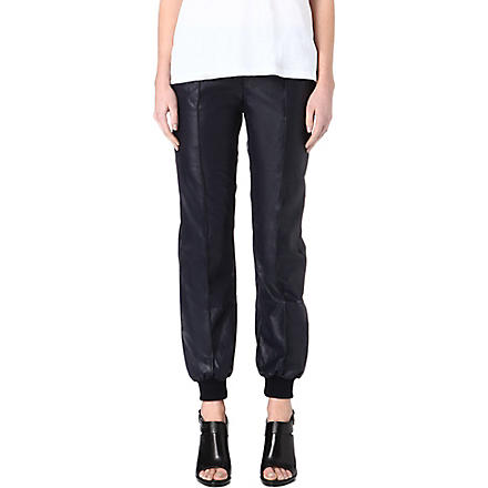 EMMA COOK Faux-leather jogging bottoms (Navy