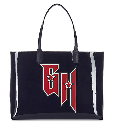 TOMMY HILFIGER Tommy Hilfiger x Gigi Hadid patent leather tote (Navy/tommy+red
