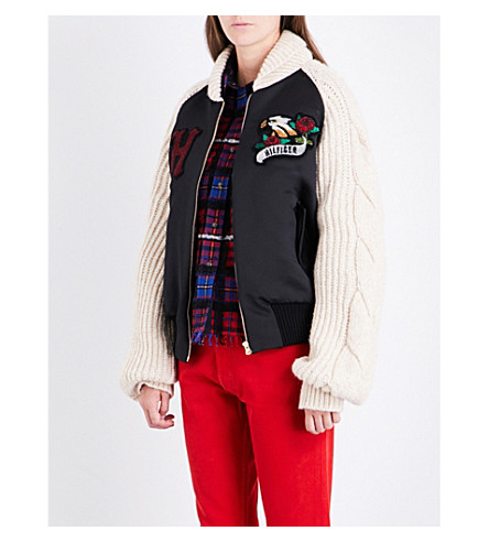 HILFIGER COLLECTION Embroidered satin and knitted jacket (Meteorite/multi