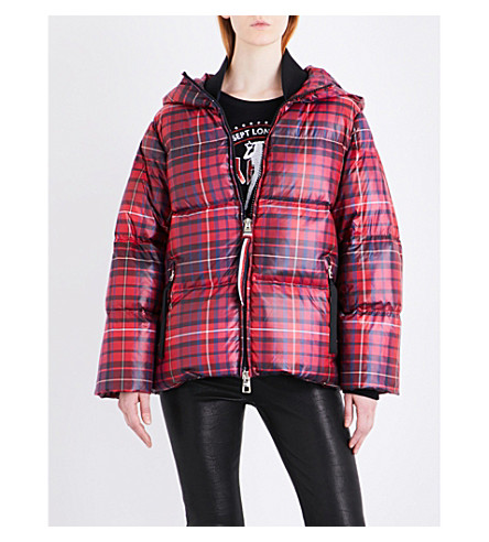 HILFIGER COLLECTION Tartan quilted shell-down puffer jacket (True+red/+multi