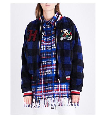 HILFIGER COLLECTION Logo-embroidered tartan bomber jacket (Peacoat+/+multi