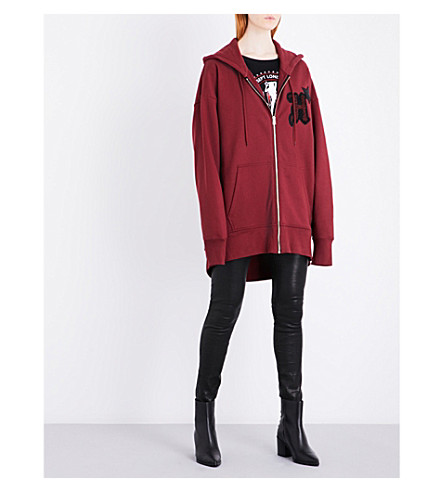 HILFIGER COLLECTION Embroidered oversized cotton-jersey hoody (Cabernet