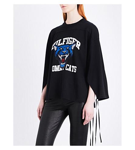 HILFIGER COLLECTION Sequin-embellished cat jersey sweatshirt (Meteorite/multi