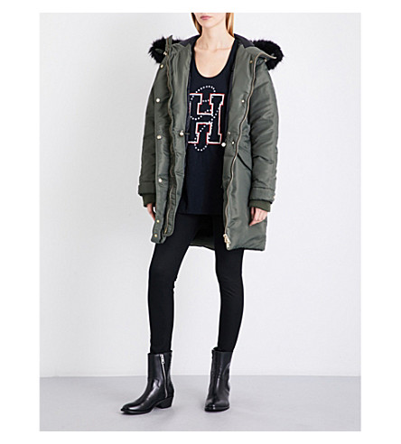 TOMMY HILFIGER Tommy Hilfiger x Gigi Hadid faux-fur hooded shell parka (Grape+leaf