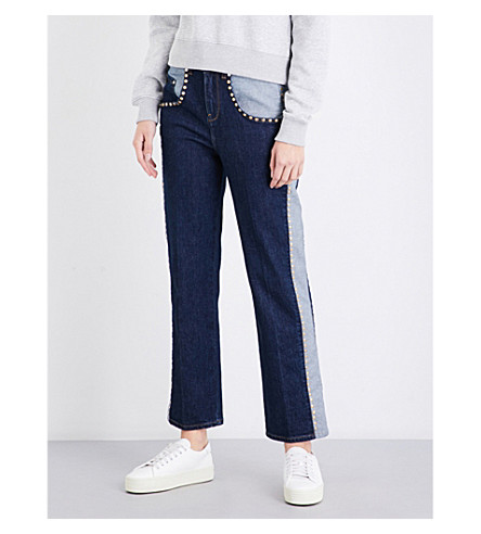 TOMMY HILFIGER Tommy Hilfiger x Gigi Hadid contrast panel bootcut high-rise jeans (Liv