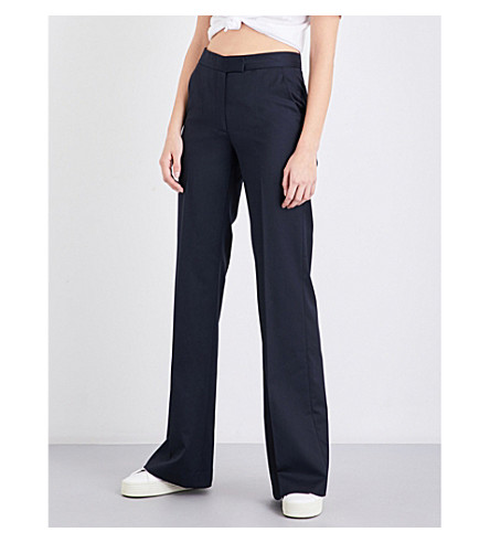 TOMMY HILFIGER Tommy Hilfiger x Gigi Hadid flared high-rise gabardine trousers (Black+beauty