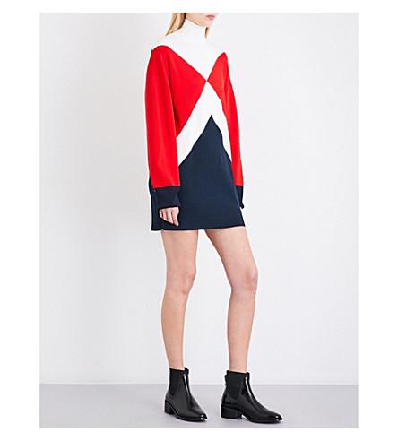 TOMMY HILFIGER Tommy Hilfiger x Gigi Hadid geometric panel knitted linen dress (Wht/red/mn