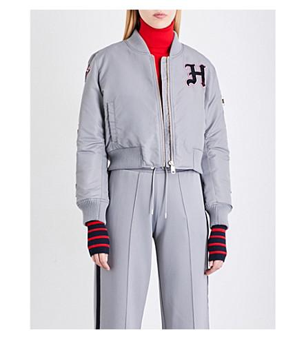 TOMMY HILFIGER Tommy Hilfiger x Gigi Hadid logo-patch shell bomber jacket (Sharkskin