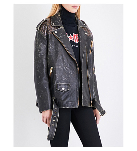 TOMMY HILFIGER Tommy Hilfiger x Gigi Hadid distressed leather jacket (Black+beauty