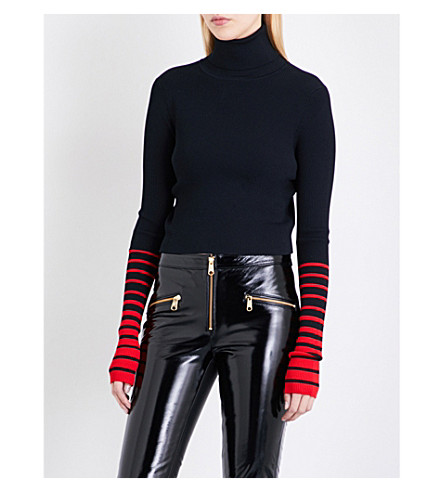 TOMMY HILFIGER Tommy Hilfiger x Gigi Hadid cropped turtleneck top (Black+beauty