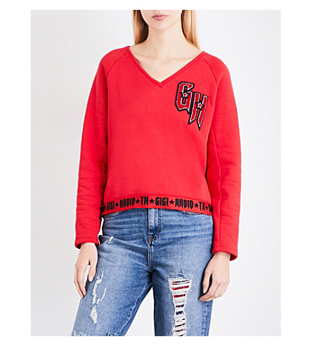 TOMMY HILFIGER Tommy Hilfiger x Gigi Hadid logo-embroidered jersey sweatshirt (True+red