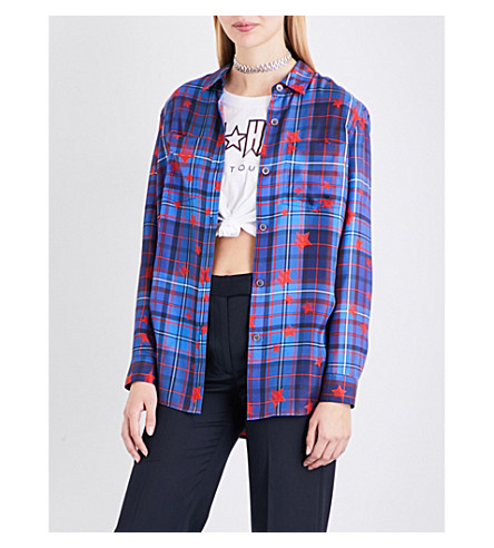 TOMMY HILFIGER Tommy Hilfiger x Gigi Hadid checks and stars-print cotton-satin shirt (Star+prnt