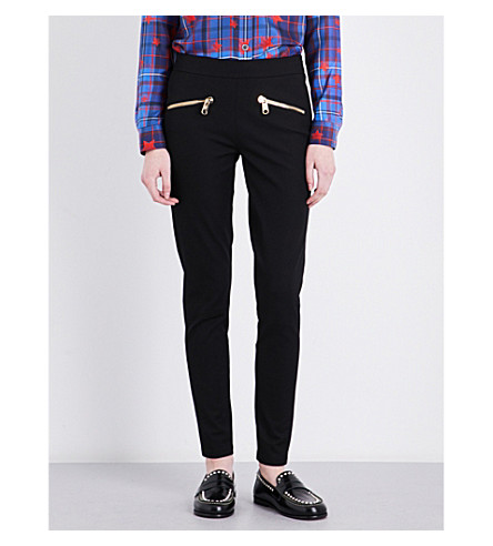 TOMMY HILFIGER Tommy Hilfiger x Gigi Hadid skinny high-rise patent jeggings (Black+beauty