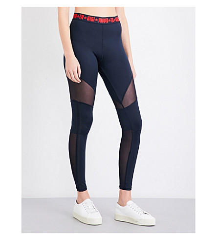 TOMMY HILFIGER Tommy Hilfiger x Gigi Hadid high-rise sheer-panel sports-jersey leggings (Midnight