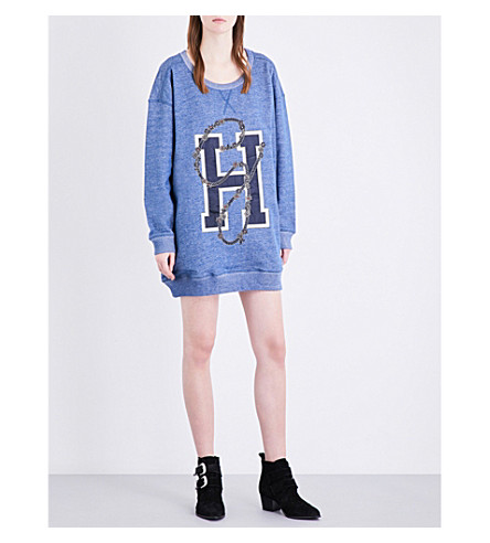 TOMMY HILFIGER Gigi Hadid oversized cotton-jersey sweatshirt (Blue indigo