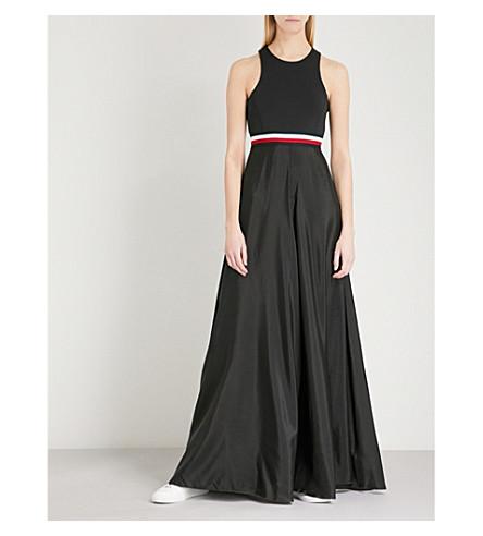 TOMMY HILFIGER Tommy Hilfiger x Gigi Hadid stretch-jersey and satin maxi dress (Black+beauty