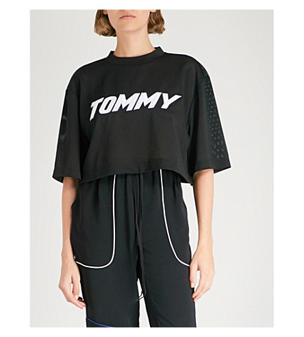 TOMMY HILFIGER Tommy Hilfiger x Gigi Hadid logo-embroidered mesh cropped top (Black+beauty