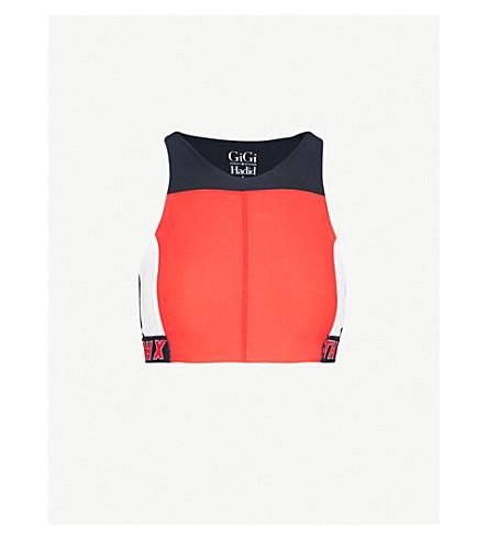 TOMMY HILFIGER Tommy Hilfiger x Gigi Hadid branded-detail stretch-jersey top (Red/mid/white/black