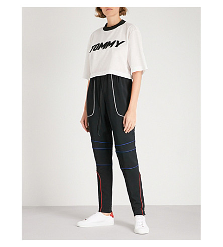 TOMMY HILFIGER Tommy Hilfiger x Gigi Hadid contrast-piping woven jogging bottoms (Black+beauty