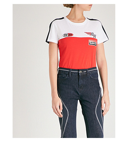 TOMMY HILFIGER Tommy Hilfiger x Gigi Hadid Speed cotton-jersey T-shirt (Scarlet/classic+white