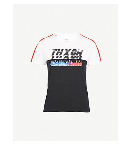 TOMMY HILFIGER Tommy Hilfiger x Gigi Hadid speed-print cotton-jersey T-shirt (Black+beauty/+white