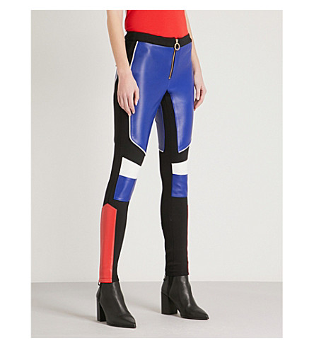TOMMY HILFIGER Tommy Hilfiger x Gigi Hadid colourblocked leather and stretch-jersey trousers (Surftheweb/multi