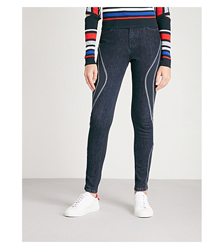 TOMMY HILFIGER Tommy Hilfiger x Gigi Hadid contrast-panel skinny mid-rise jeans (Dark+blue