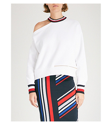 TOMMY HILFIGER Tommy Hilfiger x Gigi Hadid striped-trim jersey sweatshirt (Classic+white