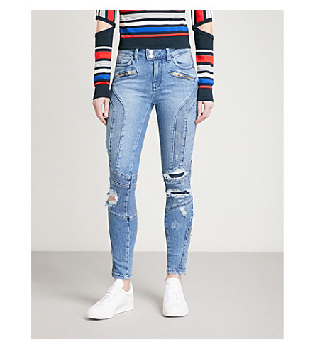 TOMMY HILFIGER Tommy Hilfiger x Gigi Hadid distressed skinny high-rise jeans (Mid+blue