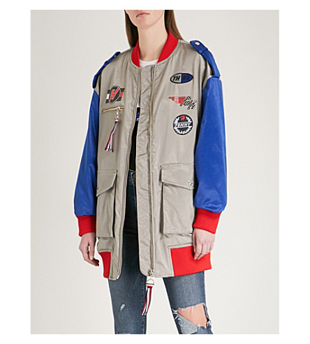 TOMMY HILFIGER Tommy Hilfiger x Gigi Hadid colourblocked satin jacket (Frost+grey/multi