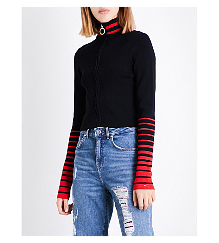 TOMMY HILFIGER Tommy Hilfiger x Gigi Hadid striped stand-collar knitted jacket (Black+beauty