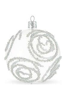 ORNEX Silver glitter swirls bauble 10cm