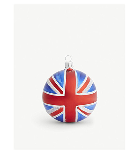 CHRISTMAS Union jack glitter bauble 8cm