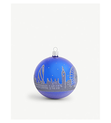 HANGING ORNAMENT Frosted glass London bauble 10cm