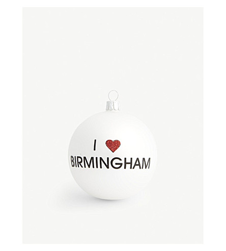 HANGING ORNAMENT I Heart Birmingham glass bauble 8cm