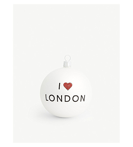 CHRISTMAS I Heart London glass bauble 8cm