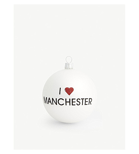 CHRISTMAS I Heart Manchester glass bauble 8cm