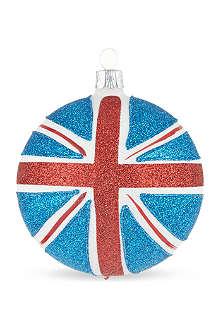 ORNEX Glitter Union Jack bauble 8cm