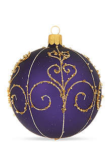 ORNEX Purple swirl bauble 10cm