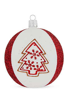 ORNEX Red tree white stripe bauble