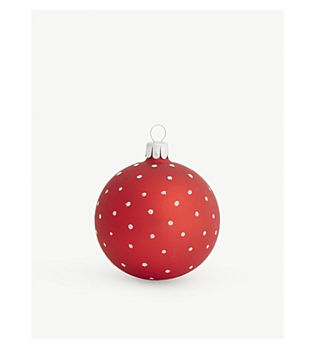 HANGING ORNAMENT Glitter polka-dot glass bauble 7cm