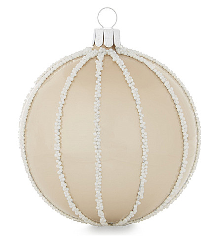 HANGING ORNAMENT Pearl stripes glass bauble 9cm