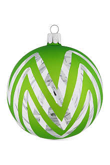 CHRISTMAS Neon green chevron bauble 10cm