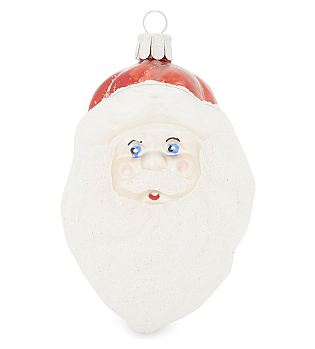 HANGING ORNAMENT Glass Santa head hanging decoration 12cm