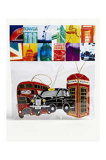 ST NICOLAS Set of three London tree decorations 10cm