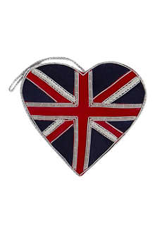 ST NICOLAS Union Jack heart tree decoration 11cm