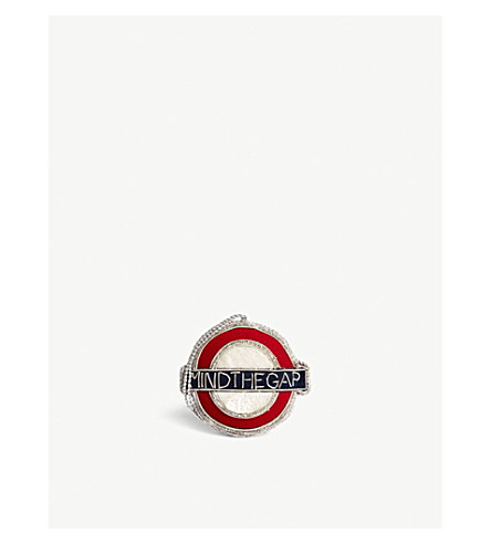 CHRISTMAS London Underground velvet roundel hanging ornament 7.5cm