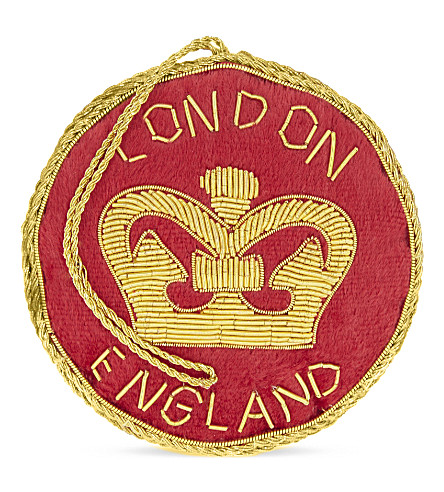 HANGING ORNAMENT London crown velvet roundel hanging decoration 8.5cm