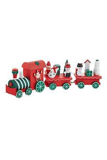 PREMIER DECORATIONS Three-piece wooden festive train