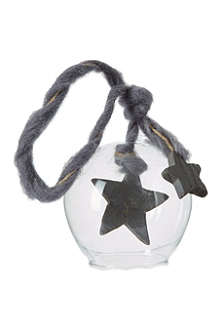 PREMIER DECORATIONS Grey star glass bauble 9cm